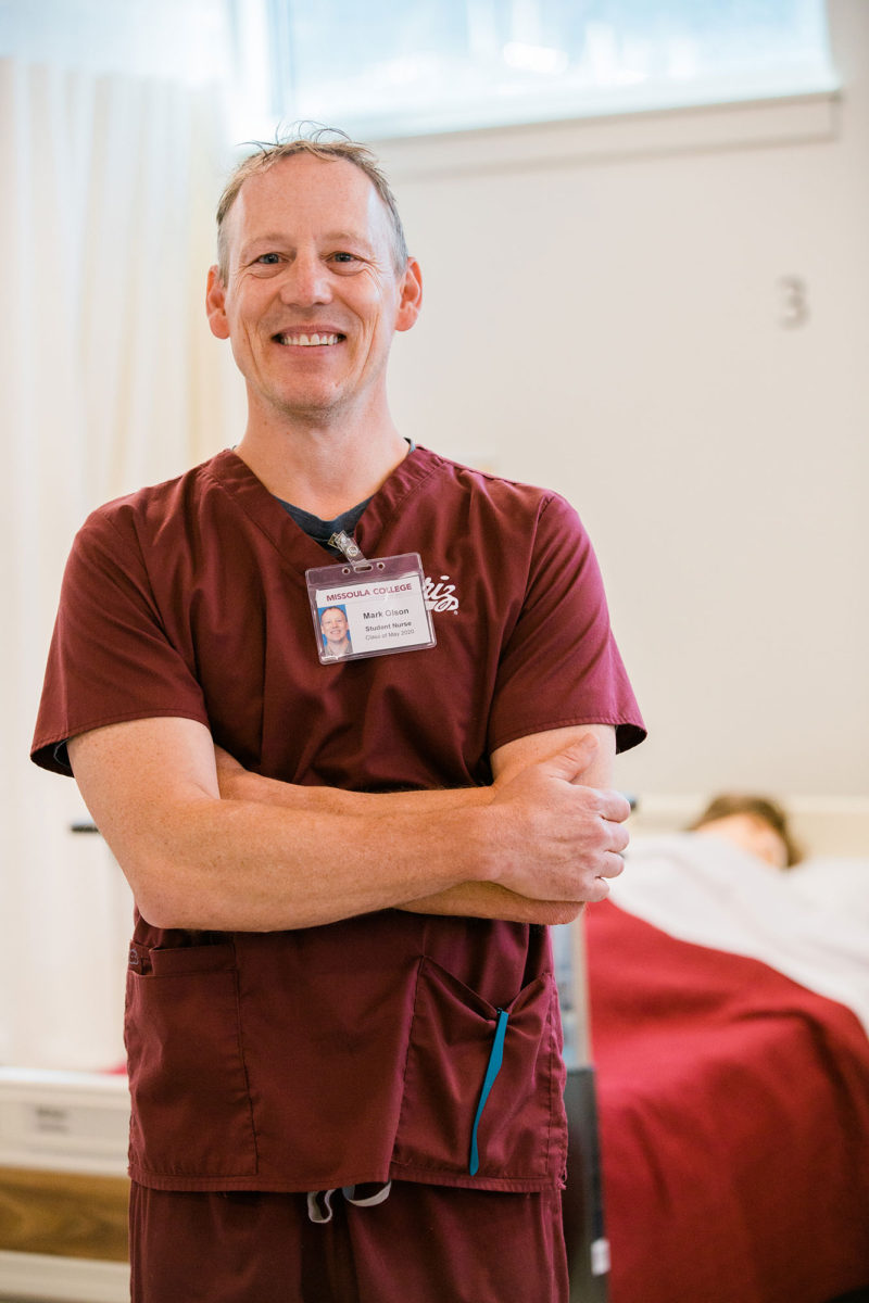 Mark Olson has a bachelor's and a master's degree and worked for the federal Bureau of Land Management, but needed to make a career switch when twins came. Data showed him there was more demand for nurses than teachers, so he signed up to become a nurse.