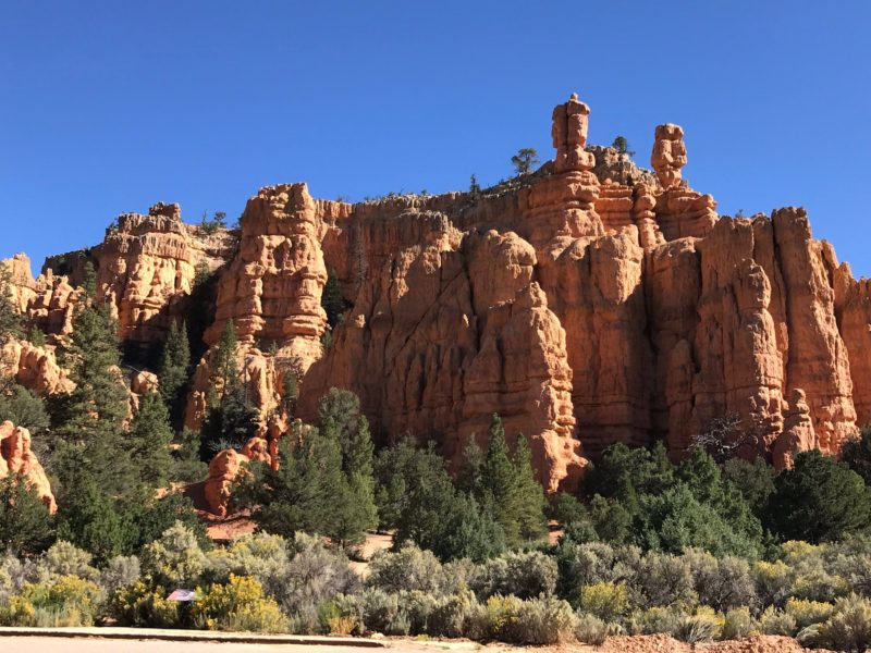 An outcrop near Red Canyon, one of the natural attractions that draw tourists to Garfield County, Utah.
