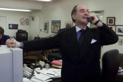 New York City Schools Chancellor Harold Levy talks on the phone in his office in downtown Brooklyn, N.Y., Thursday, May 11, 2000. Levy, head of the country's largest school system, is pushing music and poetry in a system plagued with rats, guns and crumbling school buildings.