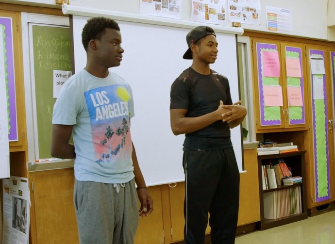 "Enoch Jemmott, right, is a New York City public high school senior struggling with his own college applications while helping his peers in the film ""Personal Statement."""