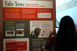 A display at the Newseum museum dedicated to information, the press and journalism.