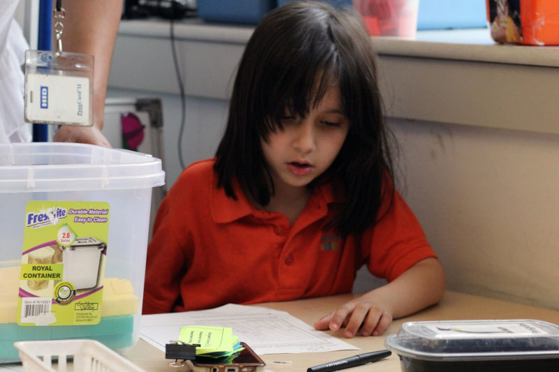 Mott Haven 20: Brandon's sister, Bella, works on a writing project in her first-grade classroom at the Mott Haven Academy Charter School.