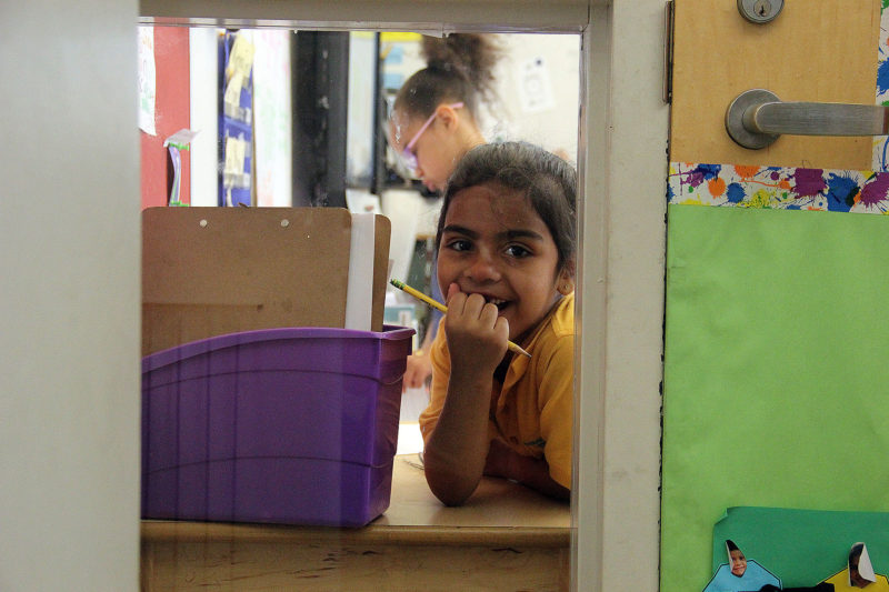 Alyssa in her first-grade classroom at Mott Haven Academy Charter School, where she enrolled after moving in with a foster mother who lives near the South Bronx institution.