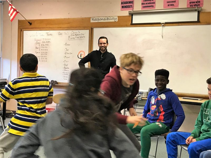 "A Crew of seventh graders at King Middle School in Portland, Maine, play a conflict-resolution game called ""Is This Seat Taken?"""