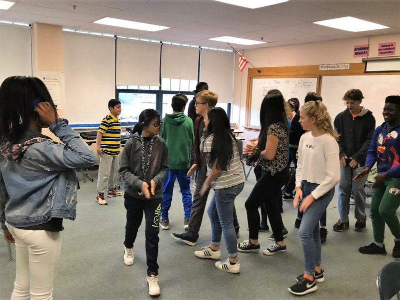 "As a prelude to discussing leadership, peer pressure and conflict, a Crew of seventh graders at King Middle School in Portland, Maine, played a game called ""Instigator."""