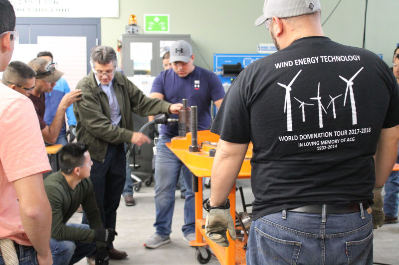 Instructor Braulio Gonzalez leads a demonstration of torqueing and tensioning for students in the wind energy program at Texas State Technical College.