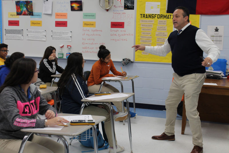 Superintendent Beto Gonzalez talks to students about their futures in the tiny town of Bruni, Texas. Gonzalez is helping set up what may be the nation's first wind technician certification program for high schoolers.