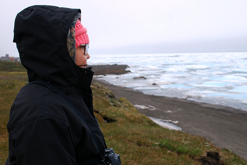 ANSEP Bridge Intern Ariel Schneider, 18, looks out over the Arctic Ocean from the Native village of Utqiaġvek, the most northern town in the United States. In the summer of 2018, Schneider worked with the U.S. Fish and Wildlife Service to map Steller's eider nests.