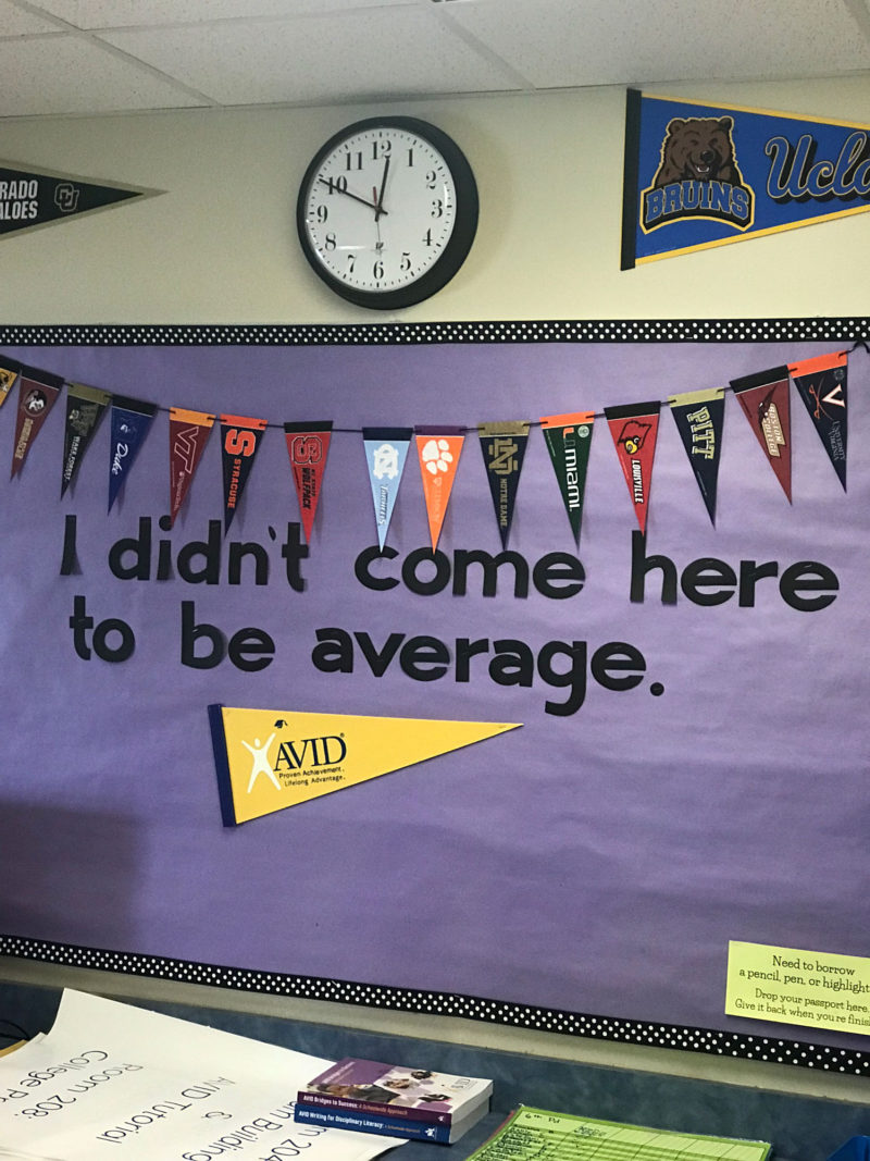 A sign inside an AVID elective classroom tries to motivate students.