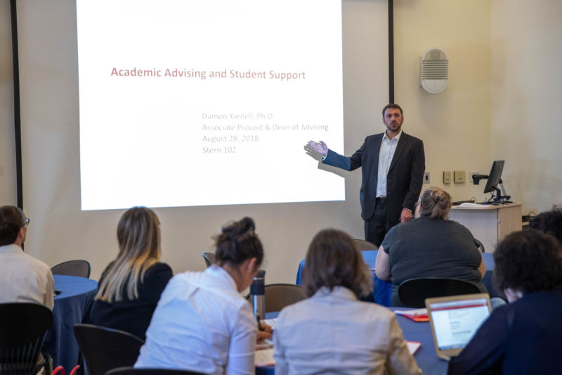 """Damon Yarnell, dean of academic advising at Dickinson College, leads a training session for new faculty about how to help students who might be foundering. """"This shouldn't be news,"""" Yarnell says."""