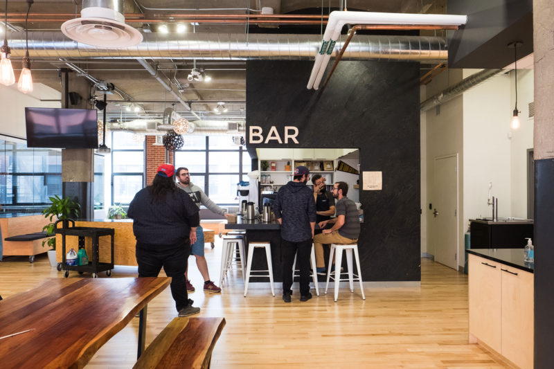 The in-house café at GSoft, a fast-growing tech firm in Montreal that competes to keep and recruit talent.