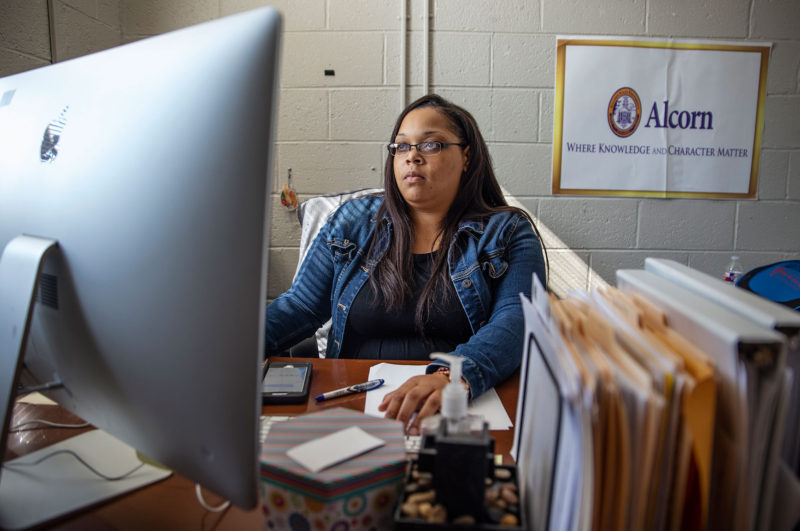 Vernita Burnett, 31, works inside of her office at W.A. Higgins Middle School in Clarksdale on an October Monday.