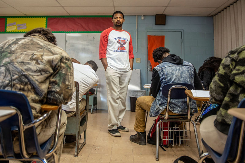 Teacher Edward Hawkins watches his class as they take a math test at West Bolivar High School in late October.