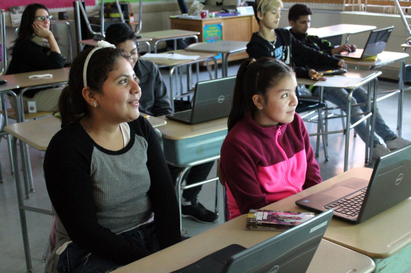 Middle school students in a newcomer program to help immigrant students adjust.
