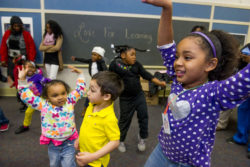 Students dance during an after school 'Love for Learning' night of activities with parents and children at the Byrd First Class Early Learning Center on February 12, 2015 in Selma, Alabama. The Byrd First Class Early Learning Center houses all of the city's pre-K students in one school.