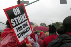 On day three of the strike, members and supporters of United Teachers Los Angeles picket outside the Local District East office of the Los Angeles Unified School District.
