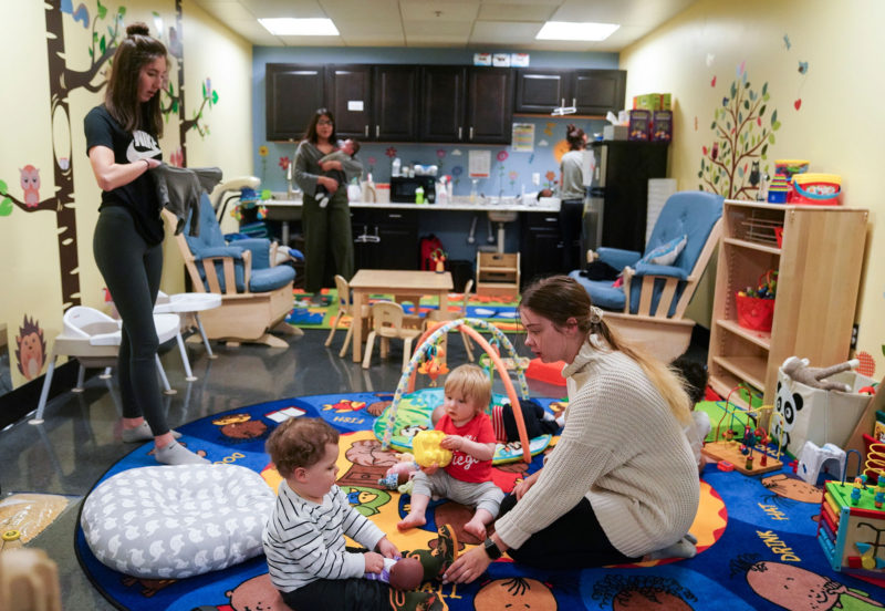 A day-care center at Portland State University. Twenty-two percent of the students at the university are parents — half of them raising kids alone.