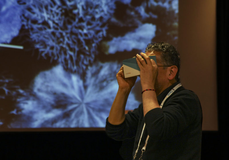 A participant used a cardboard VR headset to explore a coral reef in a session led by teachers from Knox Grammar Prep, an Australian school for boys, at the ISTE conference in Philadelphia.
