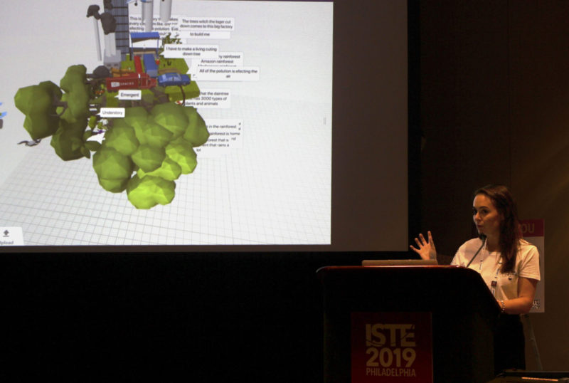 At the annual ISTE conference in Philadelphia, Eloise Feltham, a teacher from Knox Grammar Prep in Sydney, Australia, showed how students build animated ecosystems that are viewable in VR.