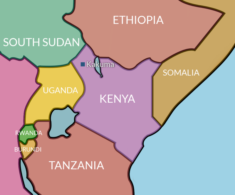 Map showing the location of the Kakuma Refugee Camp in Northern Kenya