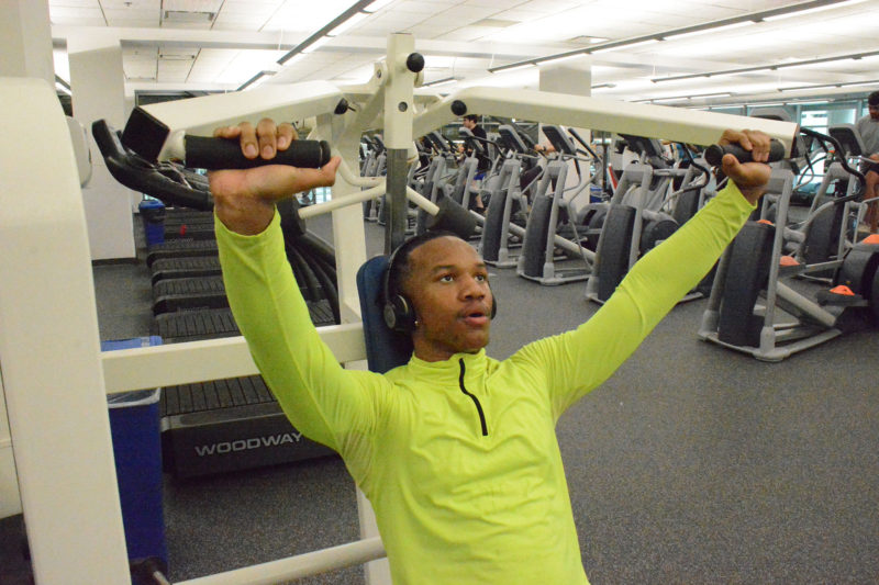 Keenan Robinson, who suffers from asthma, works out on a treadmill at Georgia State University. University advisers drew on predictive analytics to point him toward a degree in respiratory therapy.