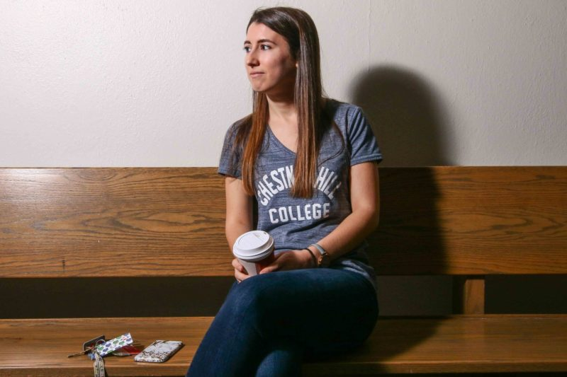 """Chestnut Hill College senior Alexis Stoner arrived without having picked a major and instead waited to see what she liked; she eventually settled on psychology. """"I think it's asking a lot of students to choose what they want to do with the rest of their life before they're even in some cases legally an adult,"""" she says."""