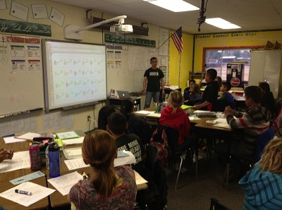 Chuck Yeh, a sixth-grade math teacher at Fairmont, leads students through group work. (Photo: Fairmont School)