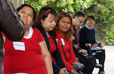 "Lead parent organizer Amabilia Villeda, left, 41, and fellow parents meet at a park nearby 24th Street Elementary School, where parents are becoming among the first in the nation to force a major overhaul through California's ""parent trigger"" law. (Photo courtesy Parent Revolution)"