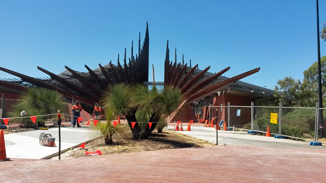 Construction is underway at Edith Cowan University in Western Australia to build a sculpture garden honoring Indigenous education. Indigenous Australians, about half of whom come from low-income families, have traditionally been underrepresented at universities. (Photo: Sarah Butrymowicz)