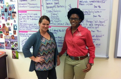 Nichole Dino and Alexandria Martin, both English teachers at Miami's Carol City Senior High School, say they like Common Core's emphasis on critical thinking. But they hope the new tests won't be biased against low-income students. (Photo: Sarah Carr)