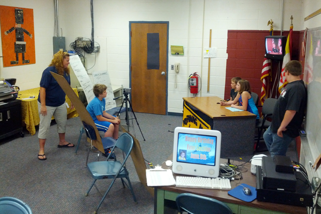 Students at Grantsville Elementary broadcast a morning news program using a mix of old and new technology. (Photo: Nichole Dobo)