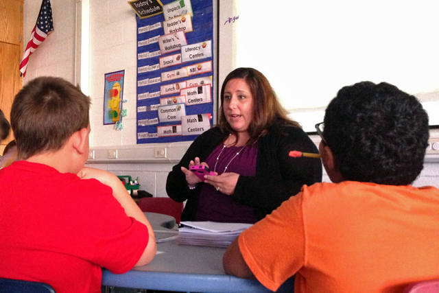 Nicole Papa, who teaches a self-contained class at East Moriches Elementary School, taught a lesson on finding the main idea. (Photo: Amanda M. Fairbanks)