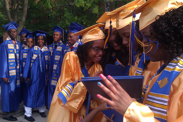 After eighth grade graduation, Chicago students scatter to 130 different high schools. Test scores show that high-performing students and low-performing students in particular are clustering into separate schools under the city's school choice model. (Photo: Linda Lutton/WBEZ)