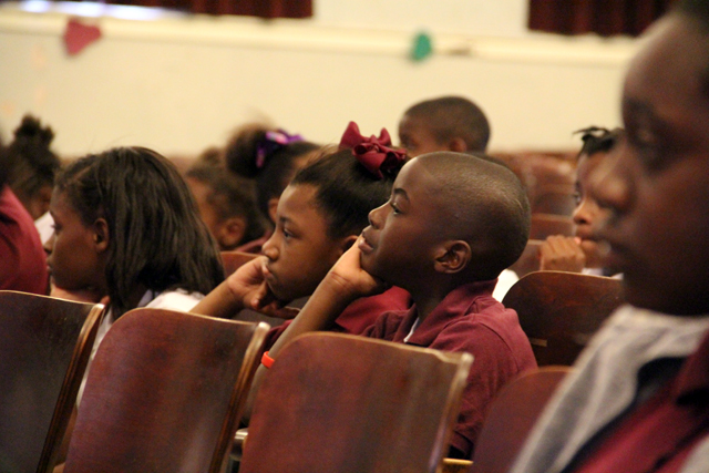Children in the Greenwood School District learn about the Summer Food Service Program during a June kick-off event.