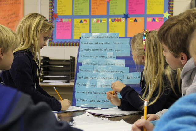 Students at Bogue Chitto School complete a writing activity during group work time. Literacy coordinator Theresa Schultz says that a focus of the year has been helping teachers make every assignment purposeful. (Photo: Jackie Mader)