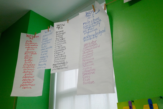 A word list on the wall includes color-coded lists based on the level a student is working at in this fifth-grade classroom at Anne Beers Elementary School. (Photo: Nichole Dobo)
