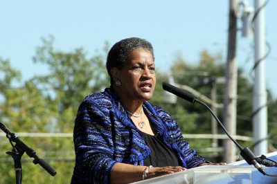 Myrlie Evers-Williams, widow of slain civil rights activist Medgar Evers, speaks at groundbreaking for new civil rights museum in Jackson, Mississippi. (Photo: Jackie Mader)