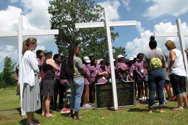Students involved in the William Winter Summer Youth Institute learn about the murders of three civil rights workers in Philadelphia, Miss. on June 16. (Photo: Kayleigh Skinner)
