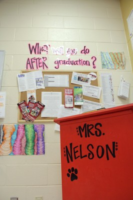Teacher Katie Nelson's room at Brandon High School is stocked with post-graduation information. The Rankin County School District emphasizes career training to prepare students with disabilities for employment. (Photo: Jackie Mader)