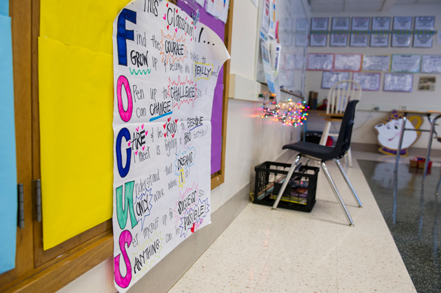 Robbinsdale Middle School's PRIDE room, an alternative-to-suspension room for students being disciplined, is full of posters reminding students how to behave in class. (Photo: Kim Palmer)