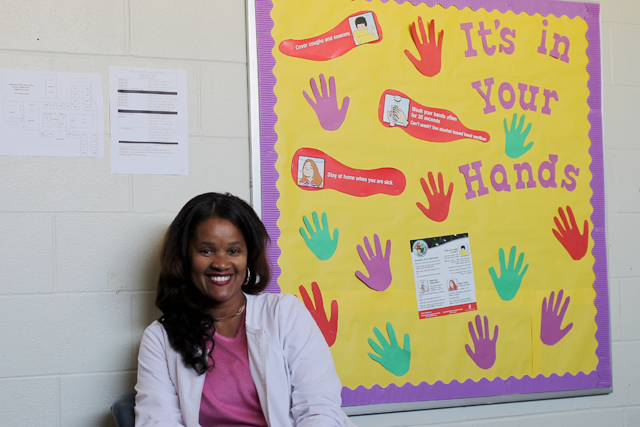 Samaria Stevenson sits outside her office at Davis Elementary School. Stevenson is one of two nurses in the Greenwood Public School District. (Photo by Bryn Stole).