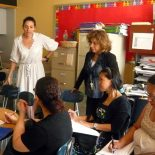 Olivia Atanasovska, a consultant for AUSSIE, gives tips to teachers at P.S. 279 in the Bronx on how to design a curriculum. (Photo by Sarah Garland)