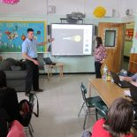 Matthew Thaxter, of the Long Island-based company TEQ, gives a smart board lesson to teachers at P.S. 176 in Brooklyn.