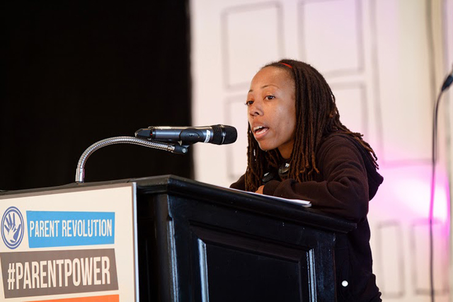 Parent activist Winter Hall talks about her daughter's low-performing school at the Nov. 15 Parent Power convention in Los Angeles. (Photo: Parent Revolution)