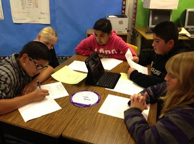 Students in Alicia Poladian's sixth-grade class at Fairmont School engage in group work. (Photo: Alicia Poladian)
