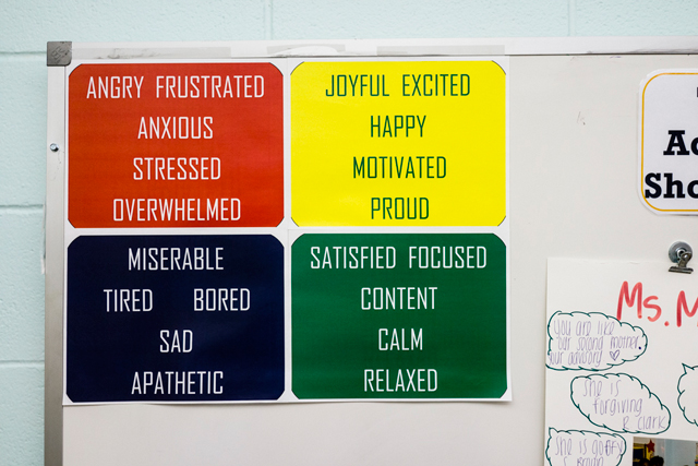 Signs on the wall in Meghan Mekita's classroom. (Photo: © William Widmer 2014)