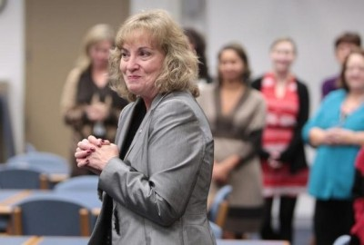 Glenda Ritz thanks supporters for coming to her reception. The newly-elected Superintendent of Indiana Department of Public Education surprised students, staff and visitors at Crooked Creek Elementary School, Tuesday, November 27, 2012, by being sworn into office in front of them during an assembly. Ritz who beat Tony Bennett in the election earlier this month, was certified in the position as of noon today. Kelly Wilkinson / The Star