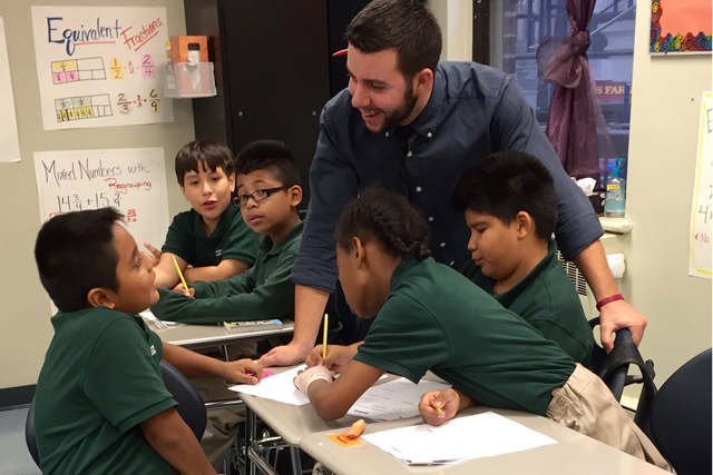 First-year teacher James Cavanagh will see his work load lightened in November when a colleague returns from maternity leave, a deliberate strategy to help new teachers ease into a demanding schedule. (Photo: Sara Neufeld)