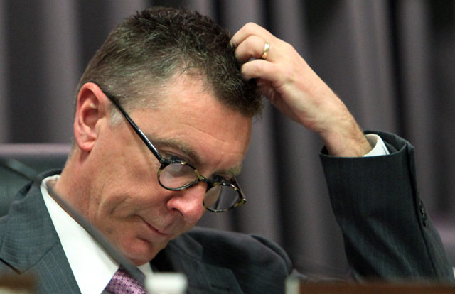 Superintendent John Deasy is seen in this file photo before the start of a public hearing at the headquarters of the Los Angeles Unified School District. (AP Photo/Reed Saxon)