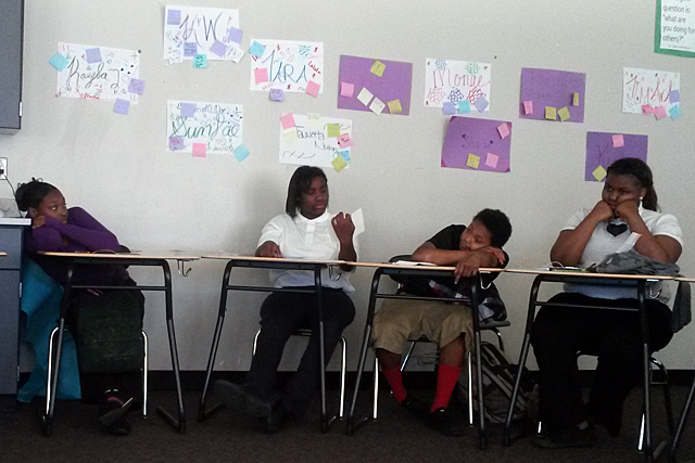 Students at Southeastern High School of Technology and Law in Detroit discuss their self-esteem during the daily advisory period. The school is using its expanded learning time to address social and emotional issues through group discussions. (Photo: Sarah Butrymowicz)